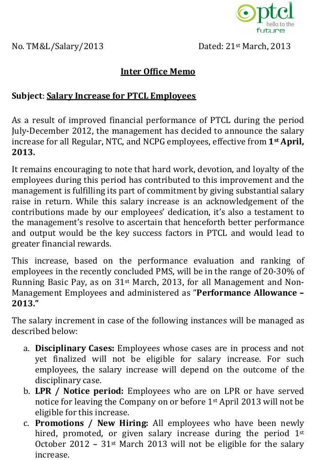 PTCL Workers Salary Increase Notification 2013 (Page 1/2)