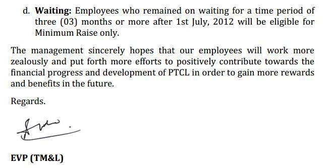 PTCL Workers Salary Increase Notification 2013 (Page 2/2)