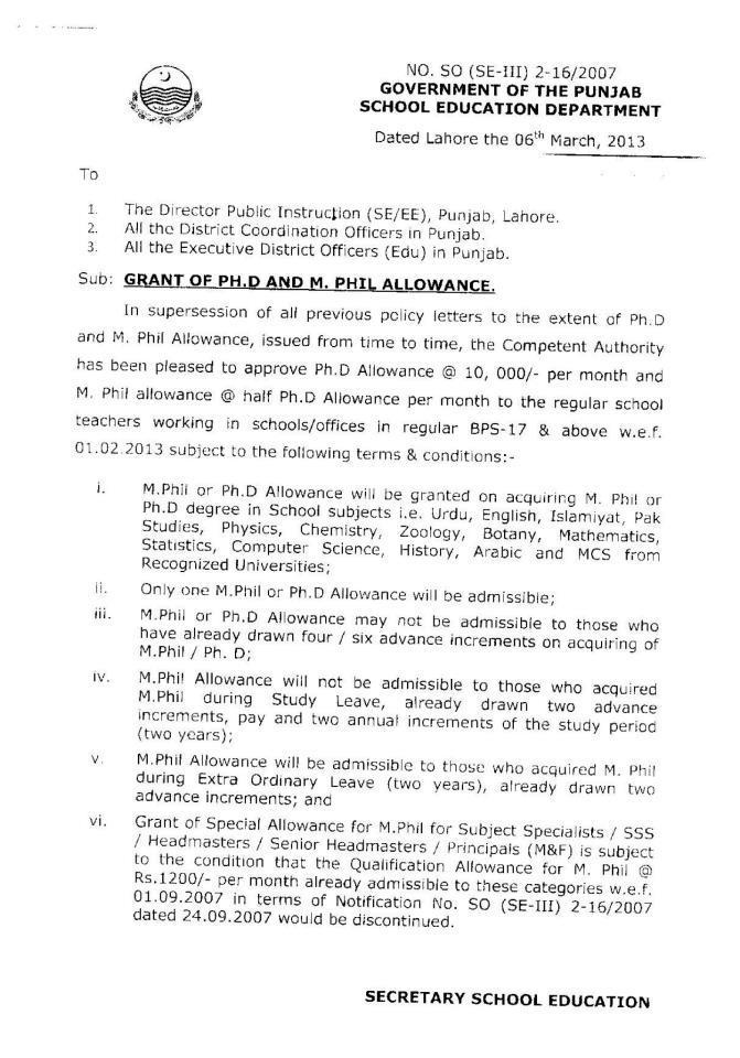 Punjab Govt Notification to increase in M.Phil PhD allowance