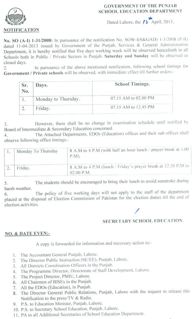 Govt of Punjab two Days Holiday notification April 2013