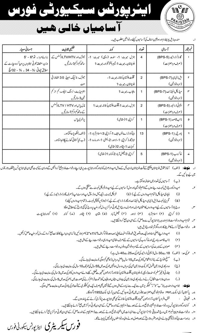 Jobs in Airports Security Force (ASF) (Published in daily Jang Lahore Dated 21/4/2013)