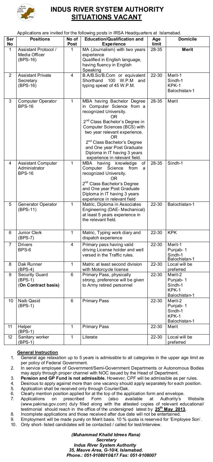 IRSA Jobs Advertisement - Last date 25-5-2013
