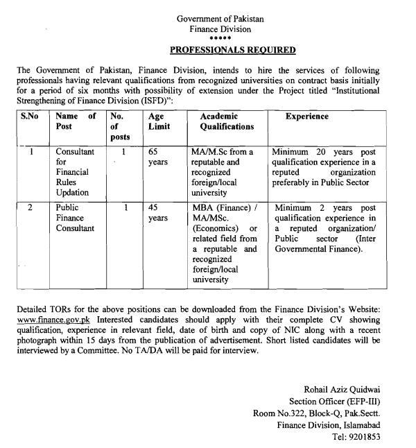 Jobs in Finance Division, Govt of Pakistan – Recruitment of Professionals