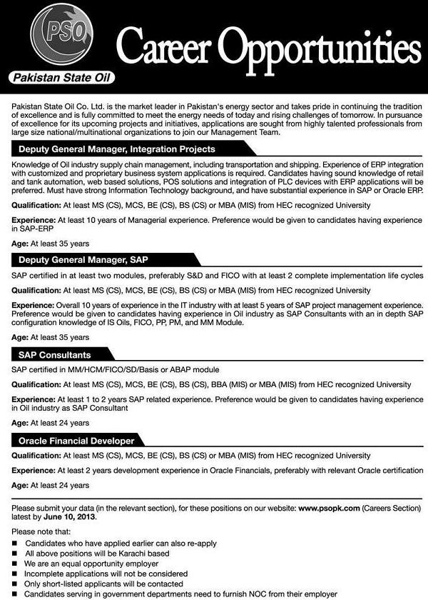 Jobs in PSO for IT Professionals (Advertisement published in daily Jang Lahore on 26/5/2013)