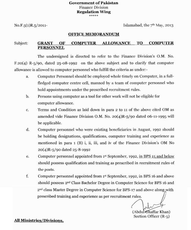 Finance Division Notification of Computer Allowance dated 7-5-2013