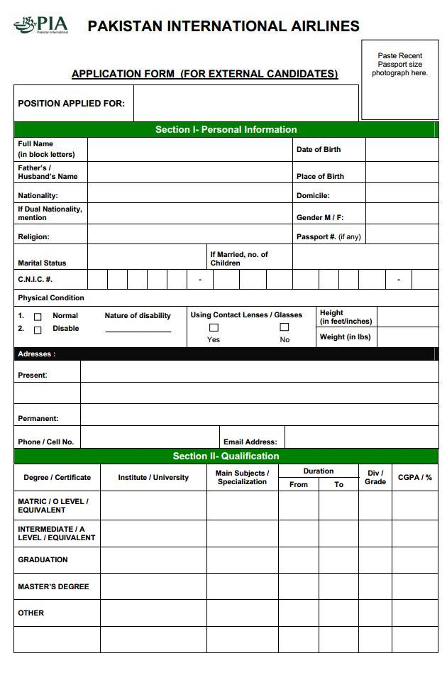 PIA Job Application Form (Page 1/2)