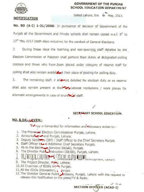Punjab Notification for Election Holidays dated 6-5-2013