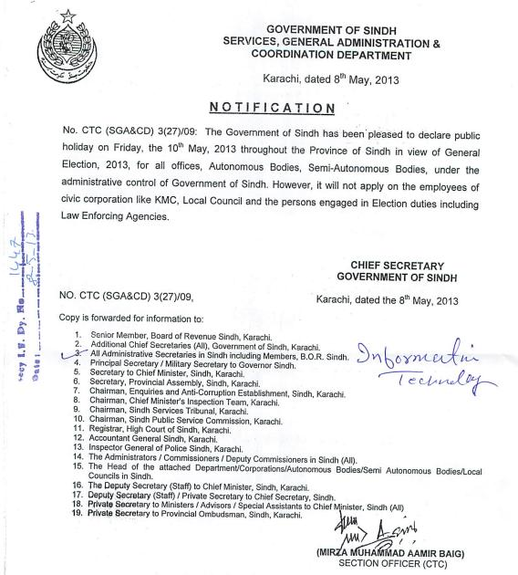 Sindh Govt Notification for public holiday on Friday 10-5-2013