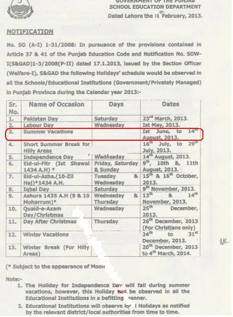 Summer Holidays Notification Punjab 2013