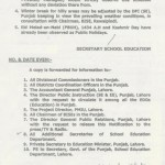 Summer Holidays Notification Punjab 2013 b