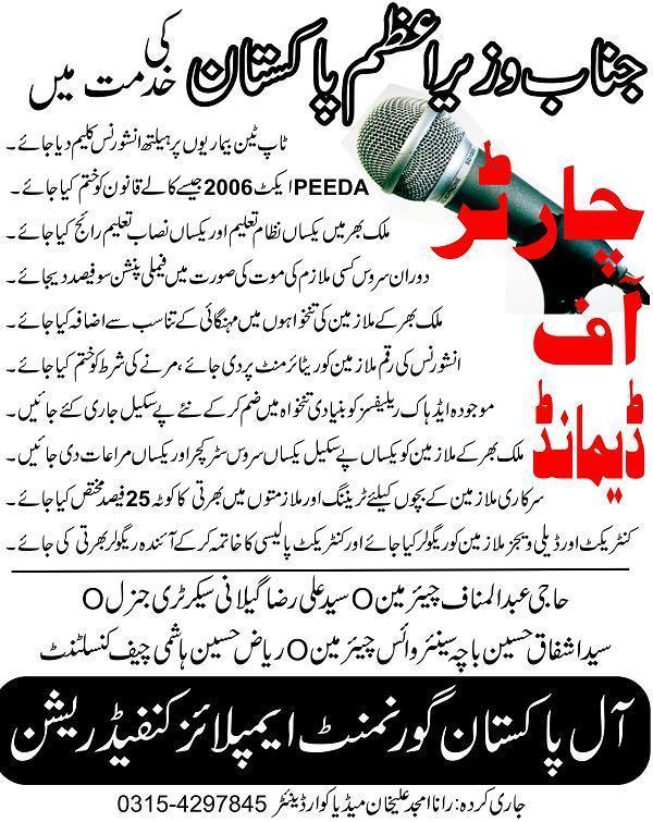 All Pakistan Govt Employees Confederation – Charter of Demands