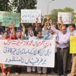 Aitchison College Lahore Teachers Protest at Press Club