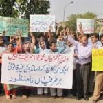 Sacked Aitchison College Teachers protest