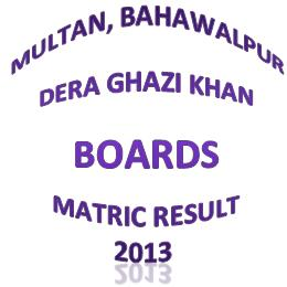 BISE Multan, Bahawalpur, DG Khan Matric Result 2013