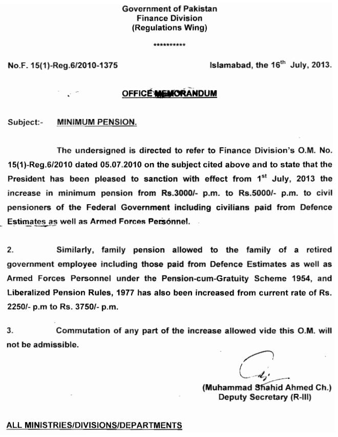 Federal Govt notification 2013 of minimum pension for retired employees