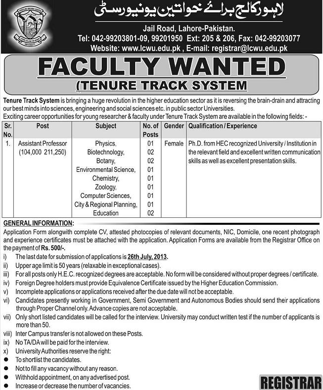 Jobs in Lahore College for Women University (Advertisement published in daily express on 17/7/2013)