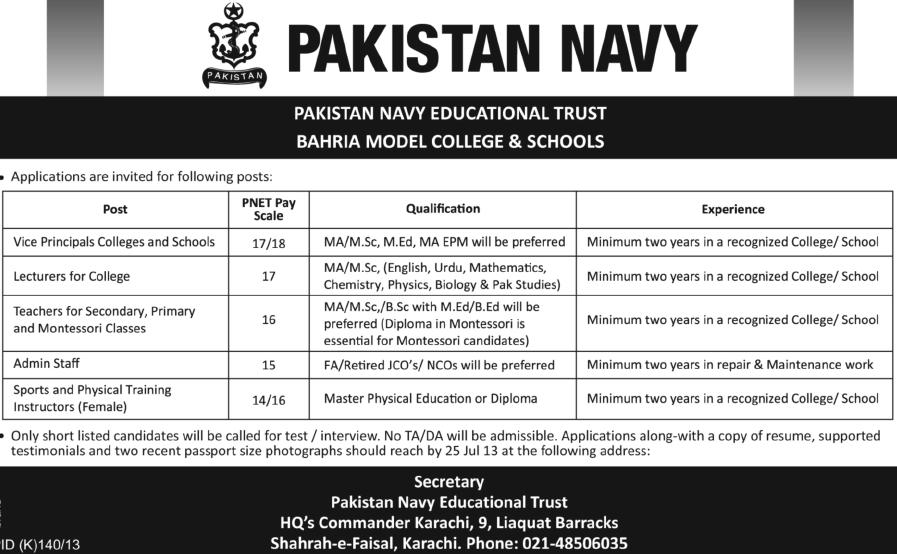 Jobs in Pakistan Navy, Bahria Model College and Schools