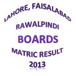 BISE Lahore, Rawalpindi, Faisalabad Matric Result 2013