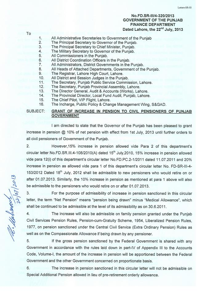 Punjab Civil Pensioners Increase Pension Notification 2013 by Finance Department (Page 1/2)