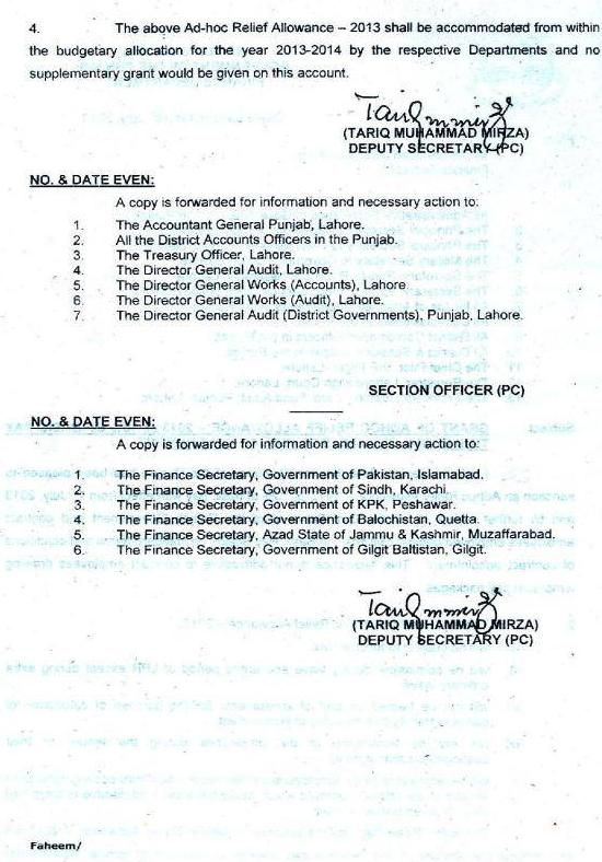 Punjab govt adhoc allowance notification 2013 (Page 2/2)