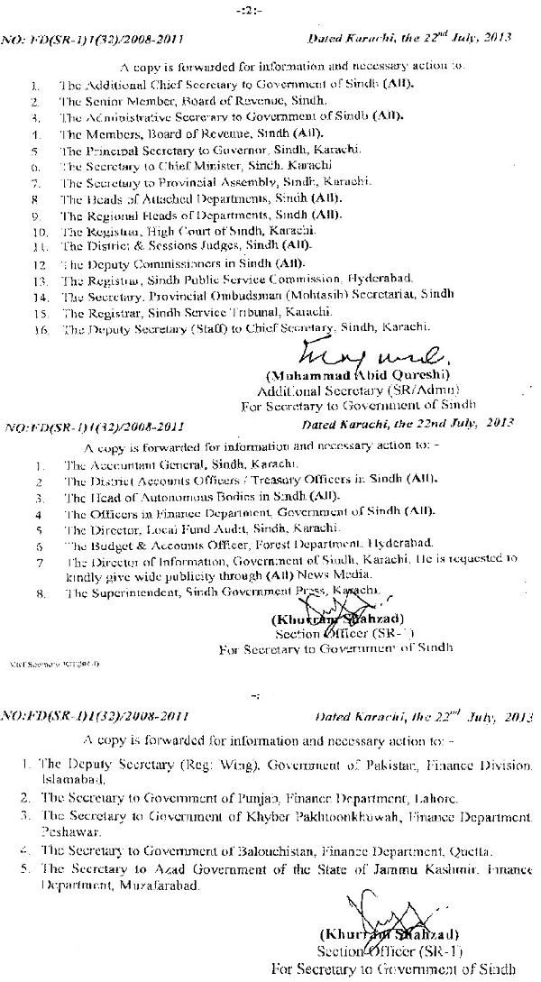 Sindh Finance Department Notification adhoc relief Allowance 2013 for govt employees (Page 2/2)