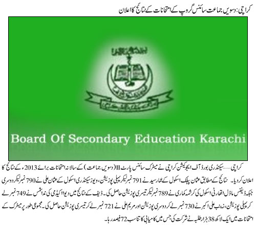 BSE Karachi Matric Science Group Part-II Result 2013