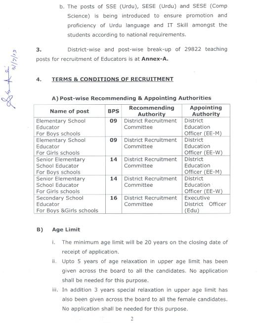 Punjab Recruitment Policy 2013 for Educators 2