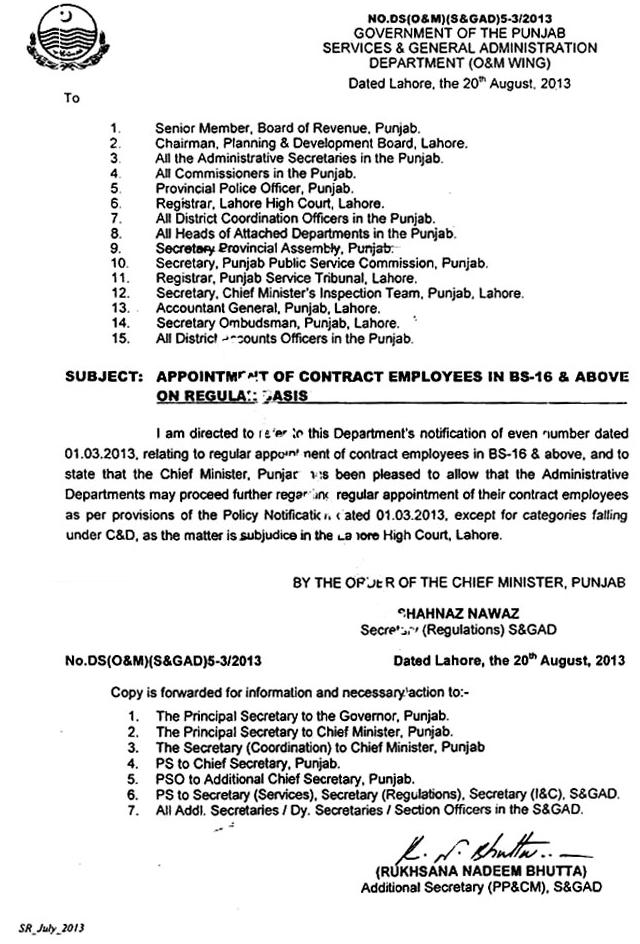 Regularization of contract employes in Punjab - Notification on 19-8-2013 for Scales 16 and above