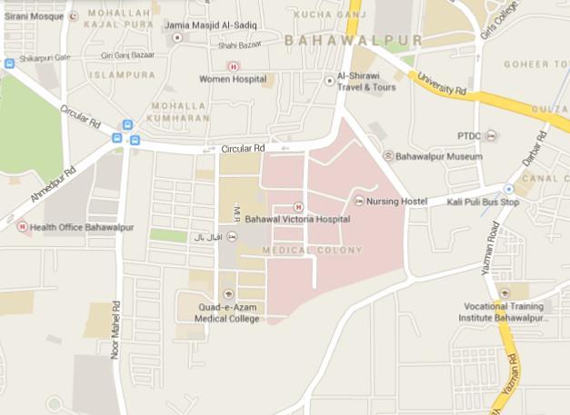 Bahawalpur BV Hospital and QAM College Location Map