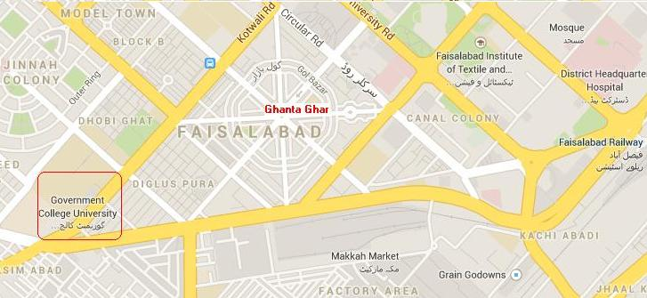 GC University Faisalabad Location Map, Ghnta Ghar, Dhobi Ghat, Railway Station, Jinnah Colony, DHQ