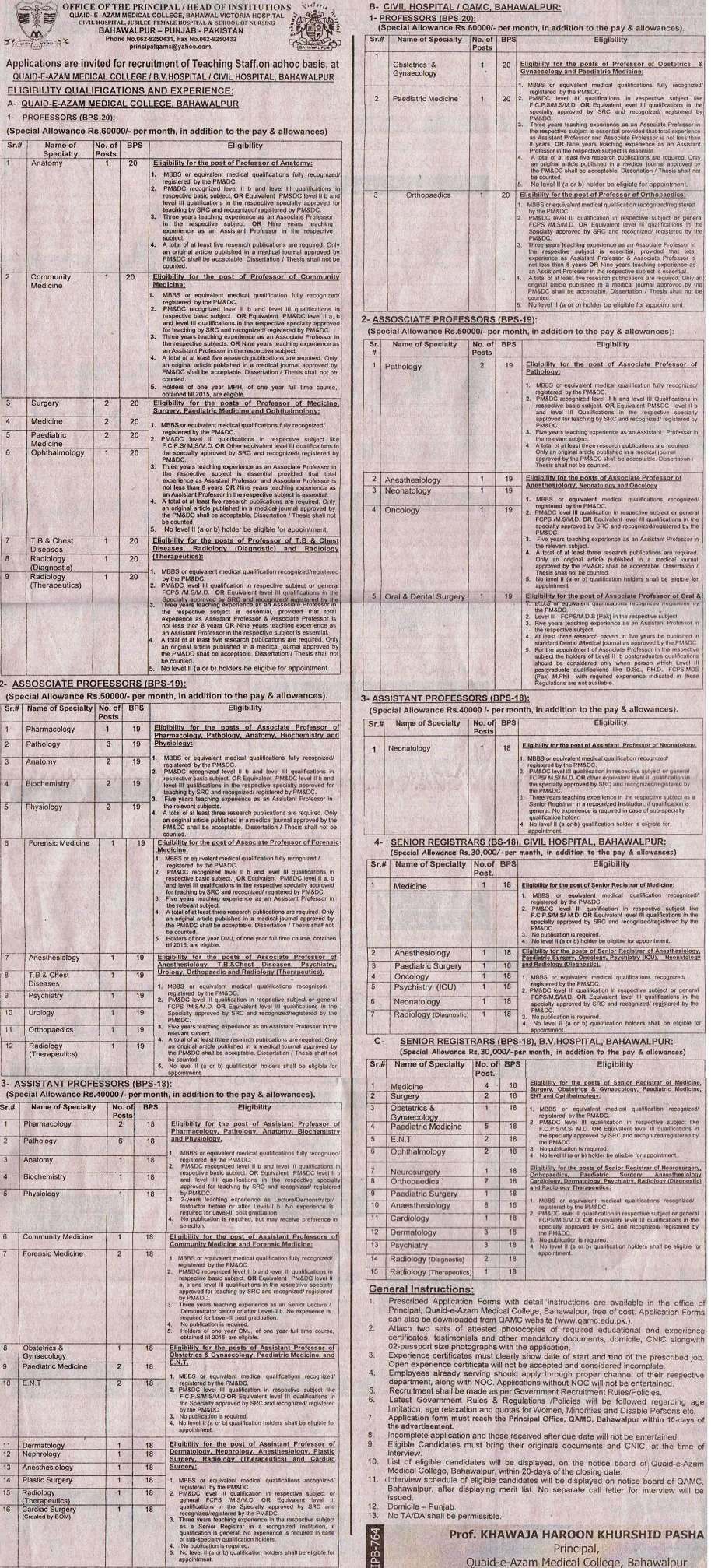 Jobs BV Hospital, QA Medical College and Civil Hospital Bahawalpur (Advertisement published in Daily Nawaiwaqt Multan Dated 16-9-2013)