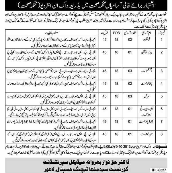 Jobs in Government Syed Mitha Teaching Hospital Lahore - Walkin Interviews (Advertisement published in Daily Express Lahore on 24-9-2013)