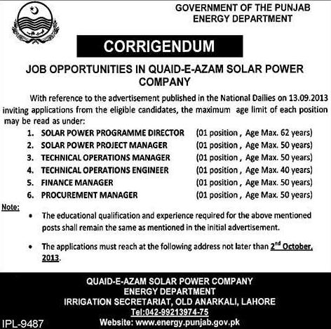 Jobs in Quaid-e-zam Solar Power Company