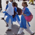 LHW dharna and School Girls