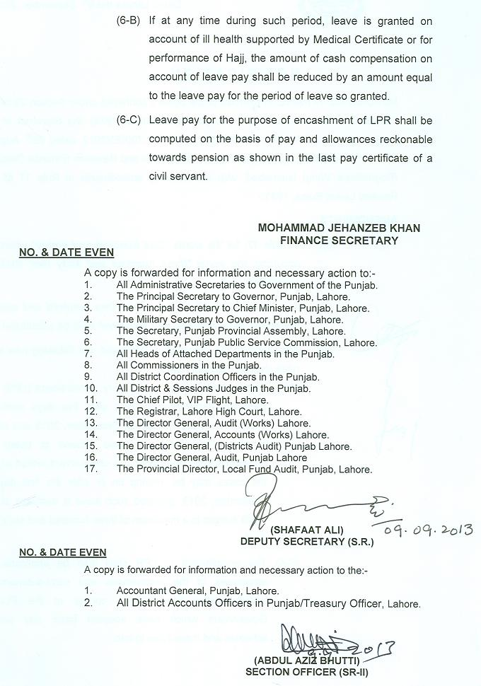 Revised Leave Encashment LPR Notification Punjab Finance Dept dated 9-9-2013 (page 2)