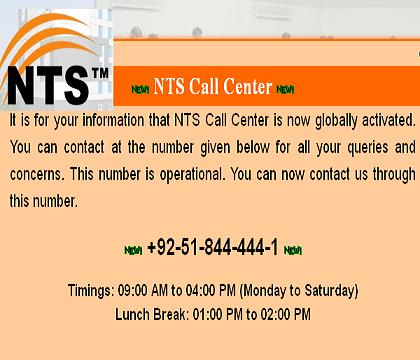 NTS Helpline Call Center Telephone Number