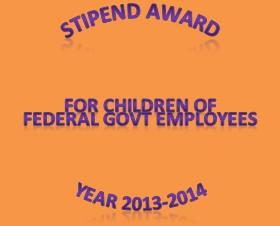 Staff Welfare Organization Required Application for Grant of Stipend to Federal Government Employees Children for Year 2013-14
