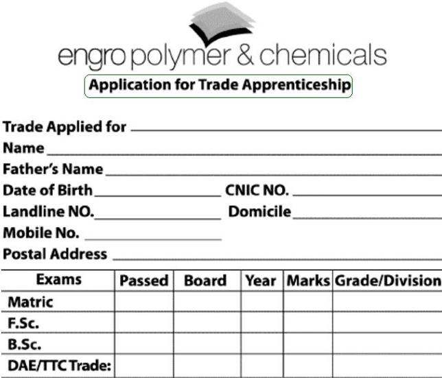 Application Form for Trade Apprenticeship in Engro Polymer and Chemicals