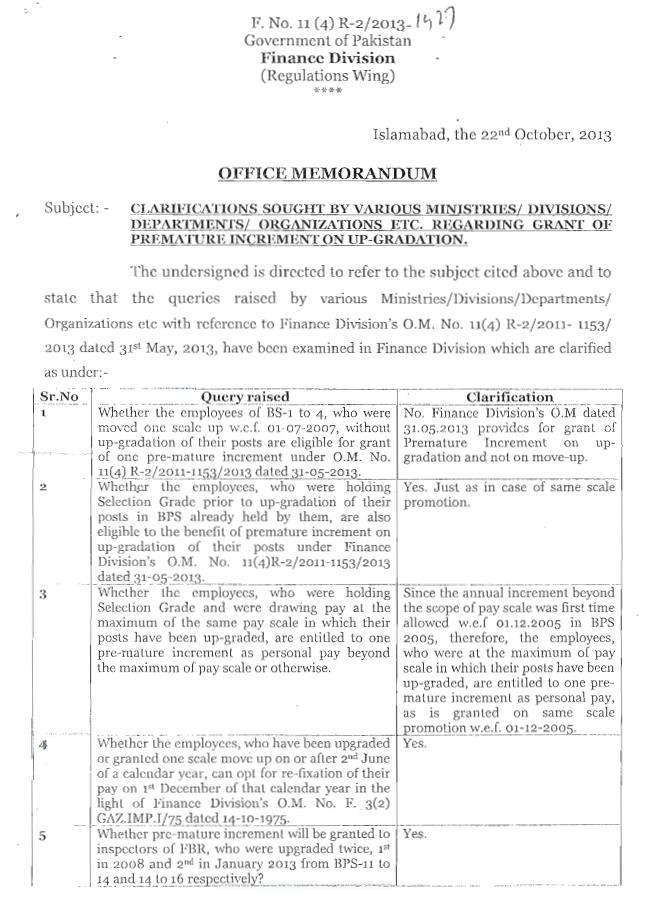 Finance Division Clarification Regarding Grant of Premature Increment on Up-Gradation (Page 1/3)