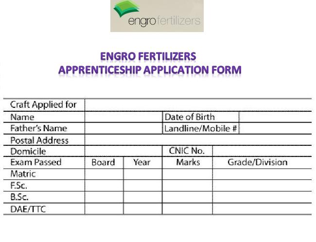 Engro Fertilizers Apprenticeship Application Form