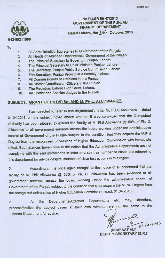 Punjab Govt Clarification Regarding Ph.D, M.Phil Allowance for Employees (page 1/2)