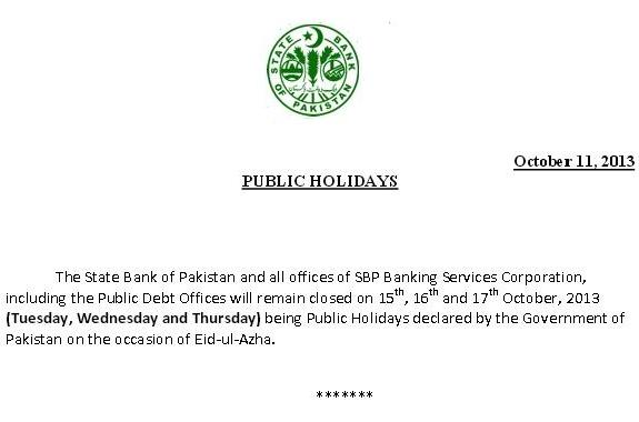 State Bank of Pakistan  Notification for Public Holidays on Eid-ul-Azha 2013
