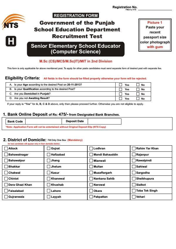 Punjab Educators NTS Application Form – SESE Computer Science