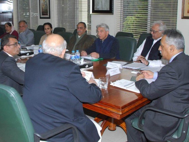 Privatization Board Chairman Muhammad Zubair chairs the meeting in Islamabad on January 8, 2014