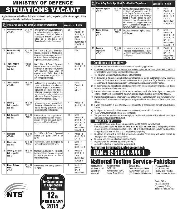 Jobs in Ministry of Defense Pakistan, Written Test by NTS
