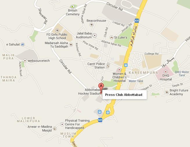 Location Map Abbottabad Press Club Near Hockey Stadium