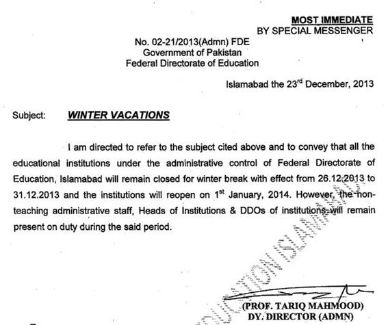 Notification of Federal Directorate of Education (Before Extension) dated Dec 23, 2013