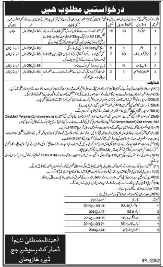 Vacancies in District and Session Judge Office DG Khan (Daily Nawaiwaqt Multan Dated 27-2-2014)