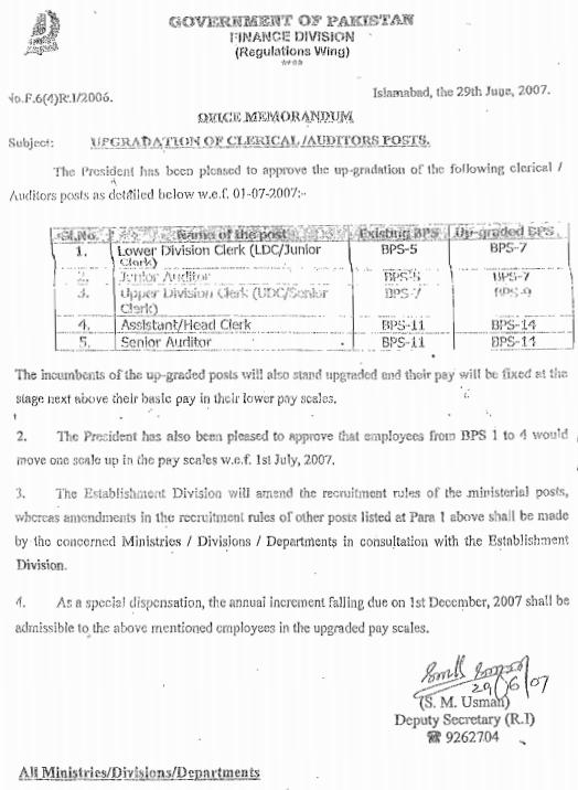 Finance Division Notification regarding Upgradation of Clerical-Editors Staff dated 29-6-2007