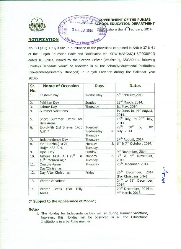 Annual Holidays Notification 2014 in Punjab School Education Department